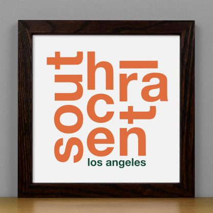 "Framed South Central Fun With Type Mini Print, 8"" x 8"", White & Orange in Dark Wood Frame"