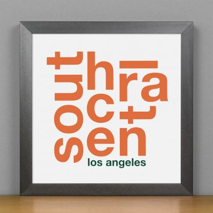 """Framed South Central Fun With Type Mini Print, 8"""" x 8"""", White & Orange in Steel Grey Frame"""