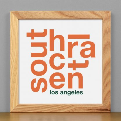 """Framed South Central Fun With Type Mini Print, 8"""" x 8"""", White & Orange in Light Wood Frame"""