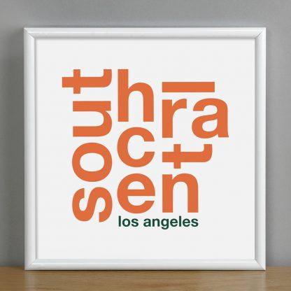 "Framed South Central Fun With Type Mini Print, 8"" x 8"", White & Orange in White Metal Frame"
