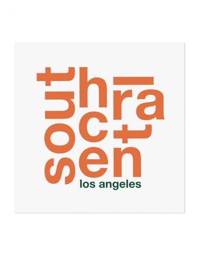 """South Central Fun With Type Mini Print, 8"""" x 8"""", White & Orange"""