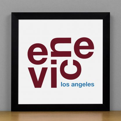 "Framed Venice Fun With Type Mini Print, 8"" x 8"", White & Maroon in Black Metal Frame"