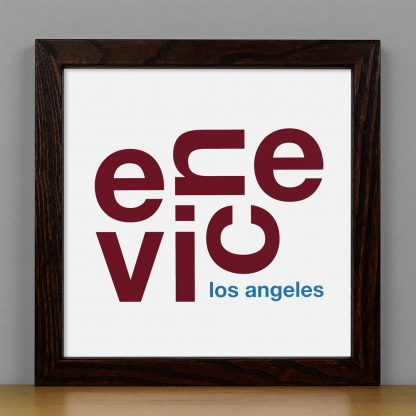 "Framed Venice Fun With Type Mini Print, 8"" x 8"", White & Maroon in Dark Wood Frame"