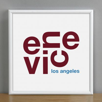 "Framed Venice Fun With Type Mini Print, 8"" x 8"", White & Maroon in White Metal Frame"
