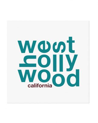 "West Hollywood Fun With Type Mini Print, 8"" x 8"", White & Teal"