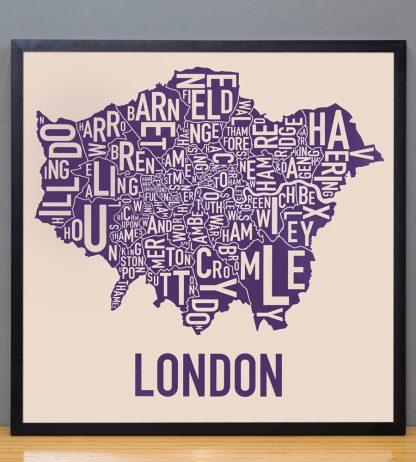 "Framed London Borroughs Map Poster, Tan & Indigo, 18"" x 18"" in Black Frame"