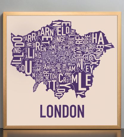 "Framed London Borroughs Map Poster, Tan & Indigo, 18"" x 18"" in Bronze Frame"