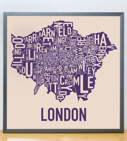 "Framed London Borroughs Map Poster, Tan & Indigo, 18"" x 18"" in Steel Grey Frame"
