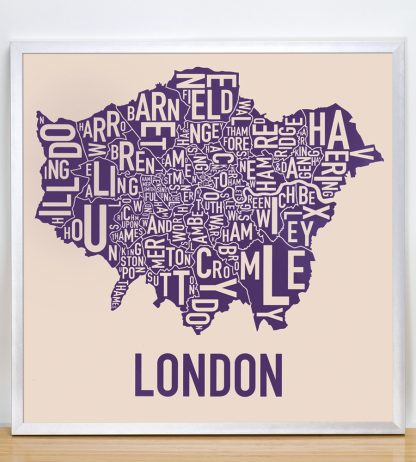 "Framed London Borroughs Map Poster, Tan & Indigo, 18"" x 18"" in Silver Frame"