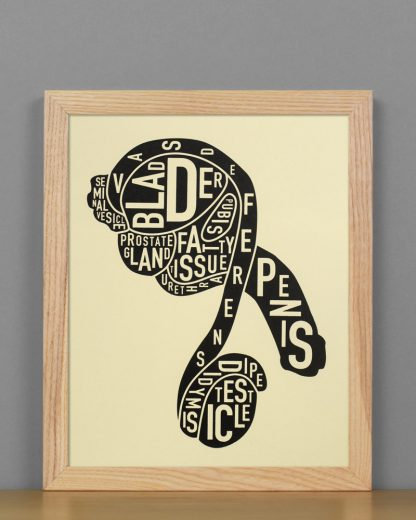 "Framed Male Anatomy Typographic Mini Print, 8"" x 10"", Tan & Black in Light Wood Frame"