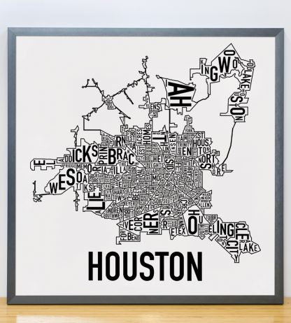 "Framed Houston Neighborhood Map Poster, Classic B&W, 18"" x 18"" in Steel Grey Frame"