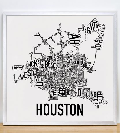 "Framed Houston Neighborhood Map Poster, Classic B&W, 18"" x 18"" in Silver Frame"