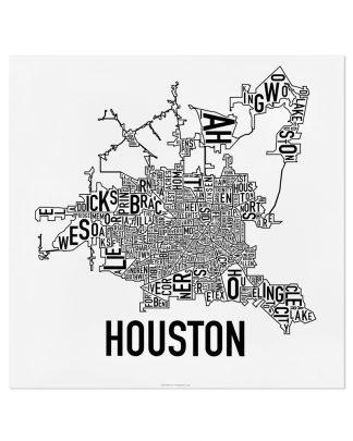 "Houston Neighborhood Map Poster, Classic B&W, 18"" x 18"""