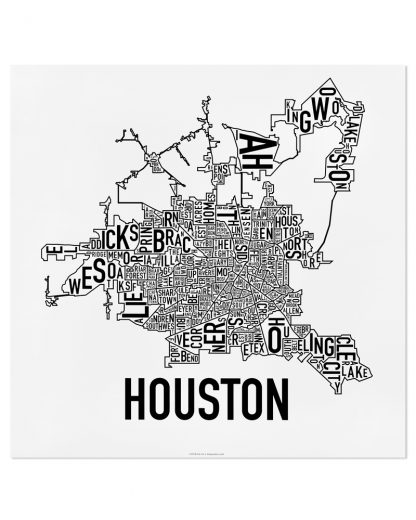"Houston Neighborhood Map Poster, Classic B&W, 18"" x 18"""