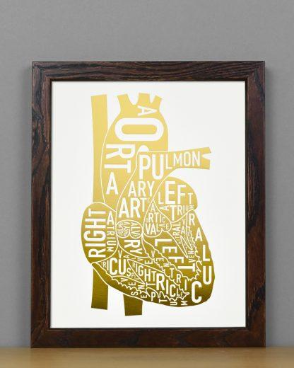"""Framed Heart Anatomy Typographic Letterpress Print, 8"""" x 10"""", White & Gold Foil in Dark Wood Frame"""