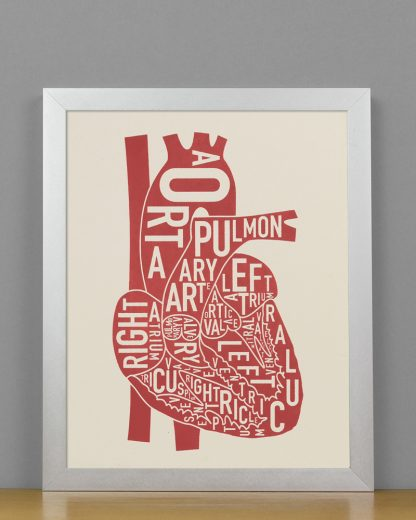 "Framed Heart Anatomy Diagram, Ivory & Red Screenprint, 8"" x 10"" in Silver Frame"