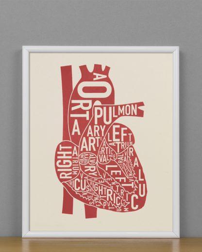 "Framed Heart Anatomy Diagram, Ivory & Red Screenprint, 8"" x 10"" in White Metal Frame"