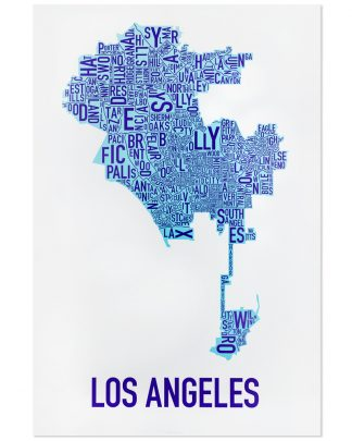 "Los Angeles Neighborhood Map Poster, White & Blues, 24"" x 36"""