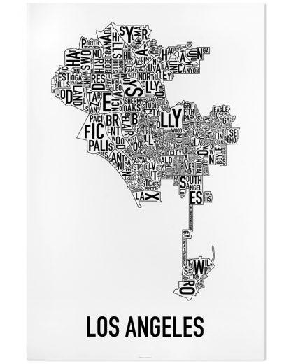 "Los Angeles Neighborhood Map Poster, Classic B&W, 24"" x 36"""