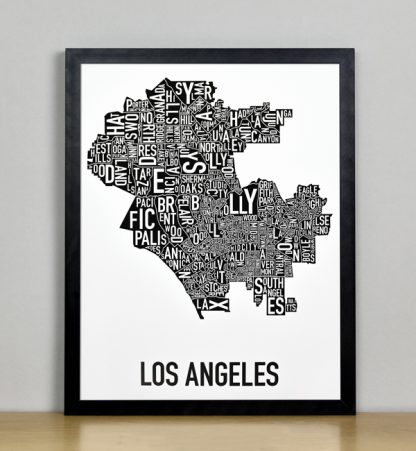 """Framed Los Angeles Typographic Neighborhood Map Poster, B&W, 11"""" x 14"""" in Black Frame"""