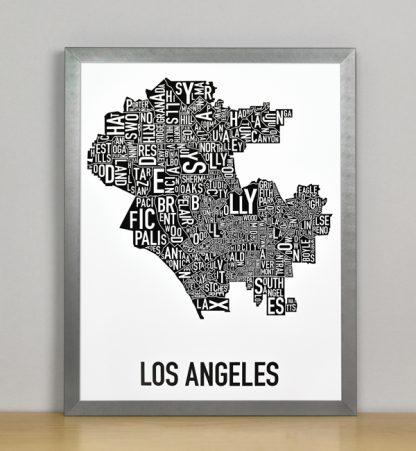 "Framed Los Angeles Typographic Neighborhood Map Poster, B&W, 11"" x 14"" in Steel Grey Frame"