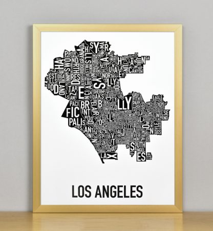 """Framed Los Angeles Typographic Neighborhood Map Poster, B&W, 11"""" x 14"""" in Bronze Frame"""