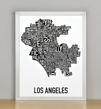 """Framed Los Angeles Typographic Neighborhood Map Poster, B&W, 11"""" x 14"""" in Silver Frame"""