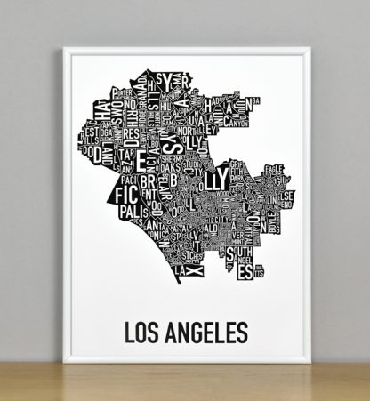 """Framed Los Angeles Typographic Neighborhood Map Poster, B&W, 11"""" x 14"""" in White Metal Frame"""