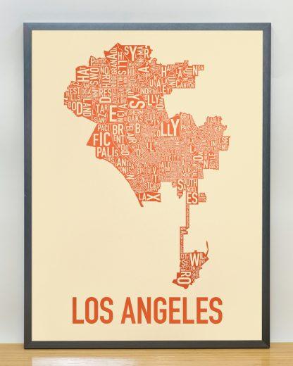"""Framed Los Angeles Neighborhoods Map Poster, Tan & Orange, 18"""" x 24"""" in Steel Grey Frame"""