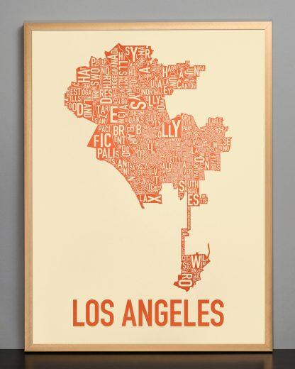 "Framed Los Angeles Neighborhoods Map Poster, Tan & Orange, 18"" x 24"" in Bronze Frame"