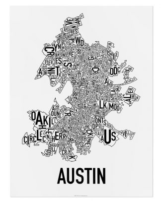 "Austin Neighborhood Map Poster, 18"" x 24"", Classic B&W"