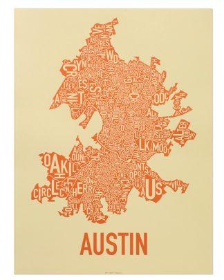 "Austin Neighborhood Map Poster, 18"" x 24"", Tan & Orange"