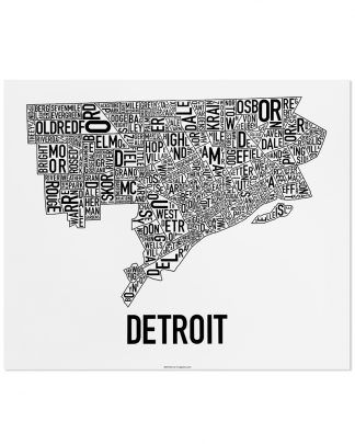 "Detroit Neighborhood Map Poster, Classic B&W, 24"" x 20"""