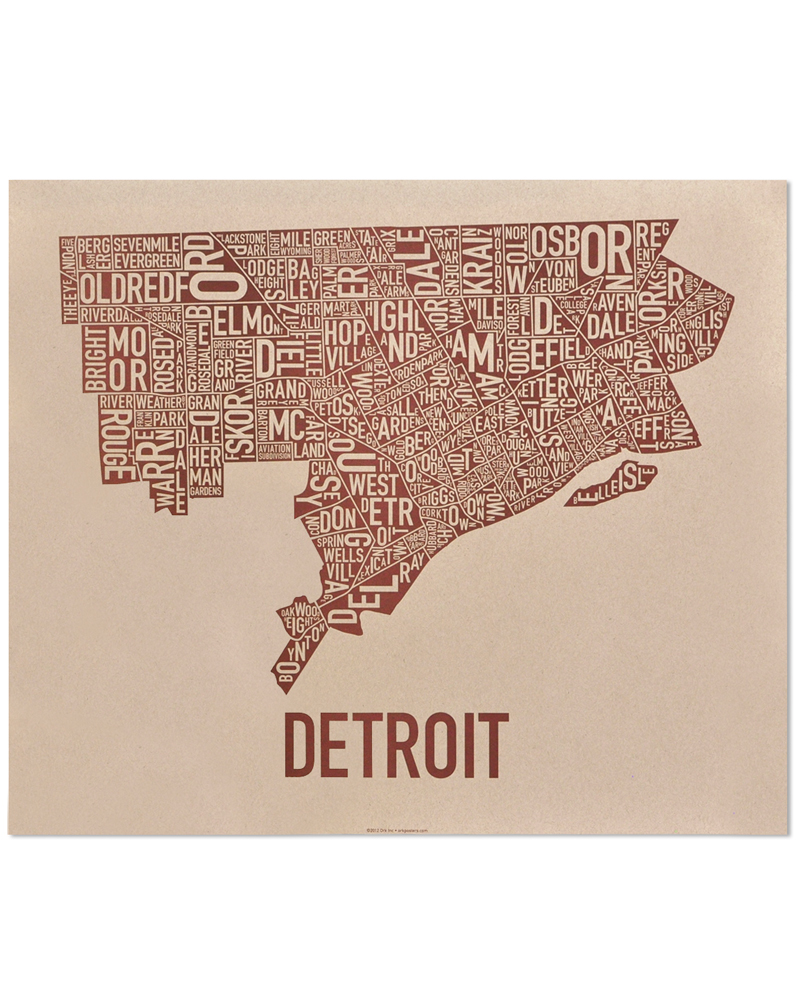 Detroit Neighborhood Map 24 X 20 Downtown Brown Poster Make Your Own Beautiful  HD Wallpapers, Images Over 1000+ [ralydesign.ml]