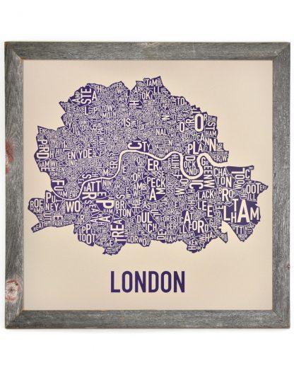 "Central London Neighborhood Map, Cream & Indigo, 24"" x 24"" in Handmade Rustic Frame"