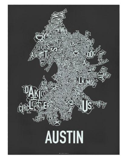"Austin Neighborhood Map Screenprint, 18"" x 24"", Black & White"