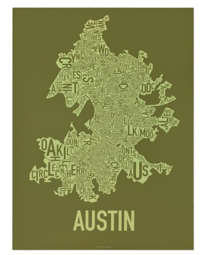"Austin Neighborhood Map Screenprint, 18"" x 24"", Green & Light Green"