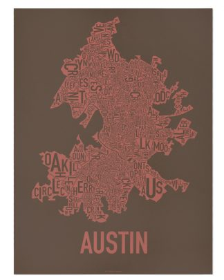 "Austin Neighborhood Map Screenprint, 18"" x 24"", Brown & Peach"