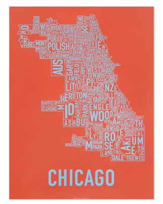 "Chicago Neighborhood Map Screenprint, Orange & Blue, 18"" x 24"""