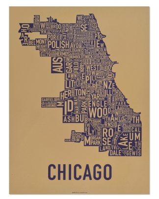 "Chicago Neighborhood Map Screenprint, Tan & Purple, 18"" x 24"""