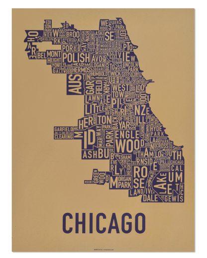 "Chicago Neighborhood Map Screenprint, Tan & Purple, 18"" x 24"""