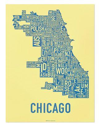 "Chicago Neighborhood Map Screenprint, Yellow & Blue, 18"" x 24"""