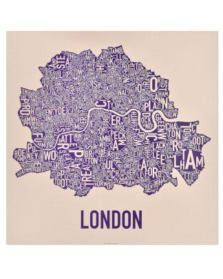 "Central London Neighbourhood Poster, Tan & Purple, 24"" x 24"""