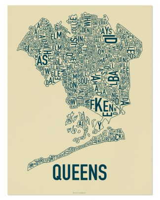"Queens Neighborhood Map, Tan & Navy Screenprint, 18"" x 24"""