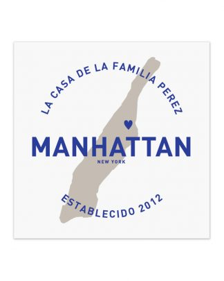 "Custom Manhattan Family Home Print, White & Royal Blue, 8"" x 8"""