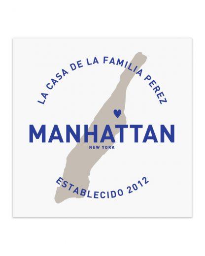 "Custom Manhattan Family Home Print, White & Royal Blue, 8"" x 8"""