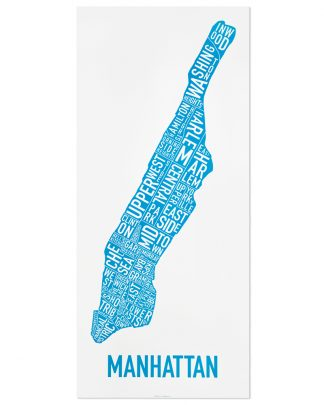 "Manhattan Neighborhood Map Poster, White & Blue, 16"" x 36"""