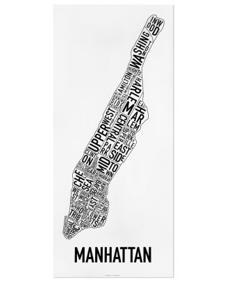 "Manhattan Neighborhood Map Poster, Classic B&W, 16"" x 36"""