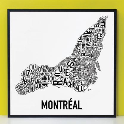 """Framed Montreal Neighbourhoods Map Poster, White & Black, 24"""" x 24"""" in Black Frame"""