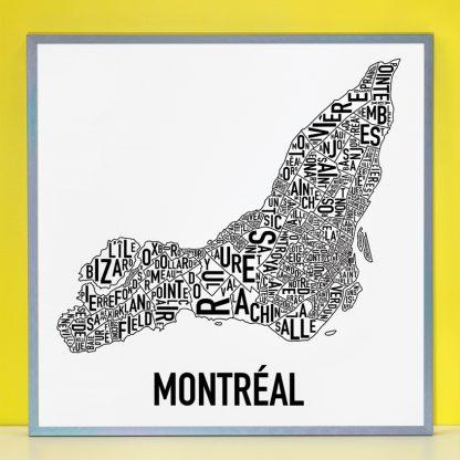 "Framed Montreal Neighbourhoods Map Poster, White & Black, 24"" x 24"" in Steel Grey Frame"